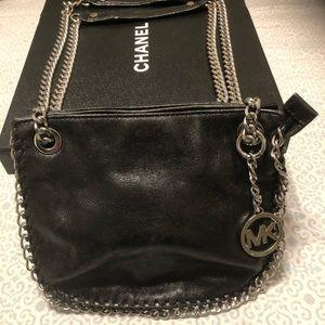 MK Black Chain Silver Crossbody Leather Bag